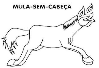 Folclore, desenho da mula-sem-cabeça