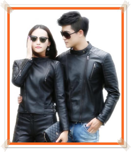 gambar contoh model jaket kulit couple untuk pasangan terbaru