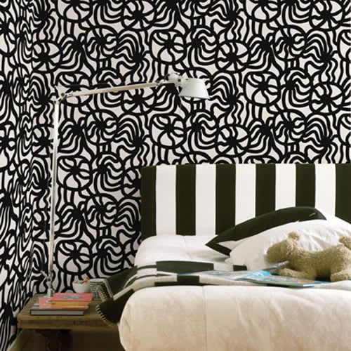 Black Wall Paper Decor : Black and white bedroom wallpaper design ideas