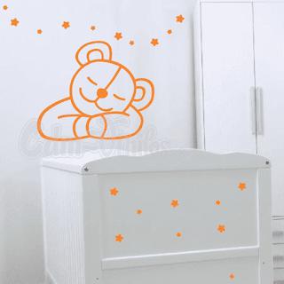 vinilo decorativo pared infantil oso osito durmiendo sonriente