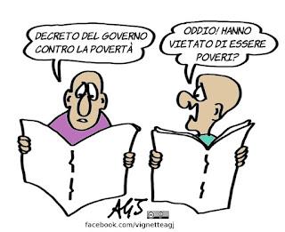povertà, decreto governo, vignetta, satira