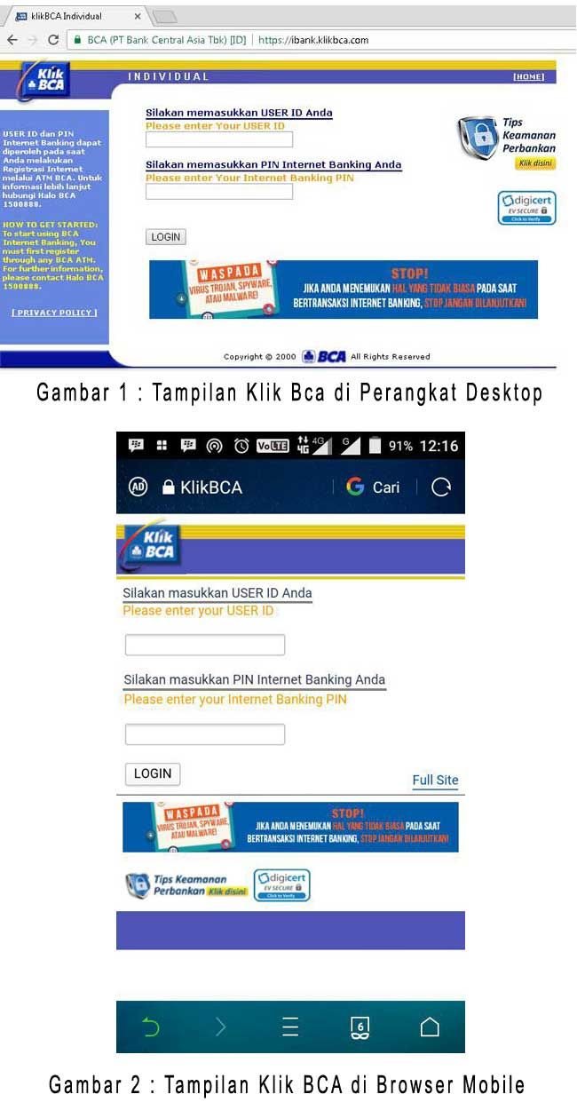 Tampilan website Klik BCA