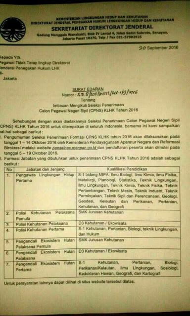 Pendaftaran CPNS Kementerian Lingkungan Hidup dan Kehutanan 2016