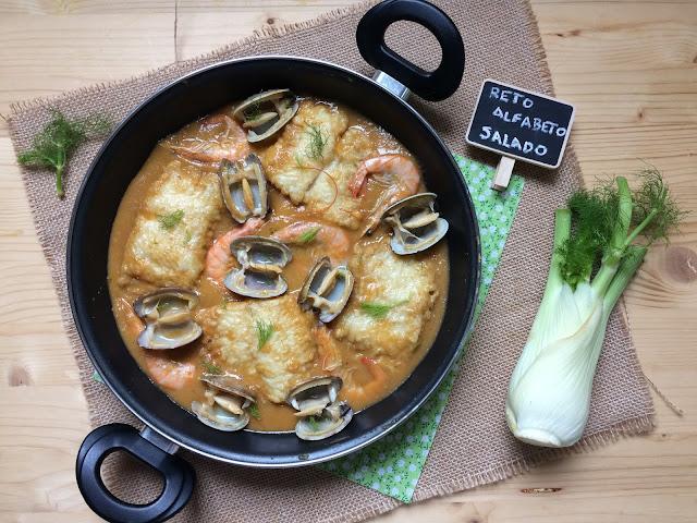 merluza con almejas y langostinos en salsa de verduras receta