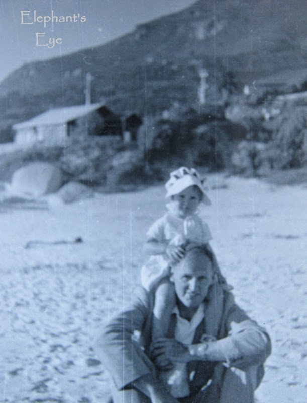 With my father on Camps Bay beach in 1956