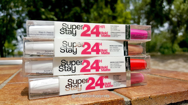 Maybelline Superstay 24hr Bold Matte in Fire Coral, Hot Brown, Peach Cocktail and Glamour Pink