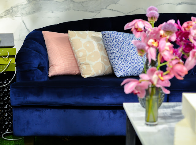 Navy blue velvet Chesterfield outdoor sofa by Coco Wolf at Decorex during London Design Festival 2016 #LDF16