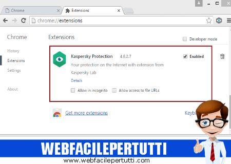 Kaspersky Protection - Estensione Per Chrome che blocca i siti pericolosi e le pagine di phishing, nasconde i banner pubblicitari e vi protegge dai keylogger