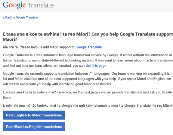 Help Google Translate Support Māori