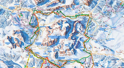 Map of Sellaronda ski route. Orange clockwise. Green counterclockwise.