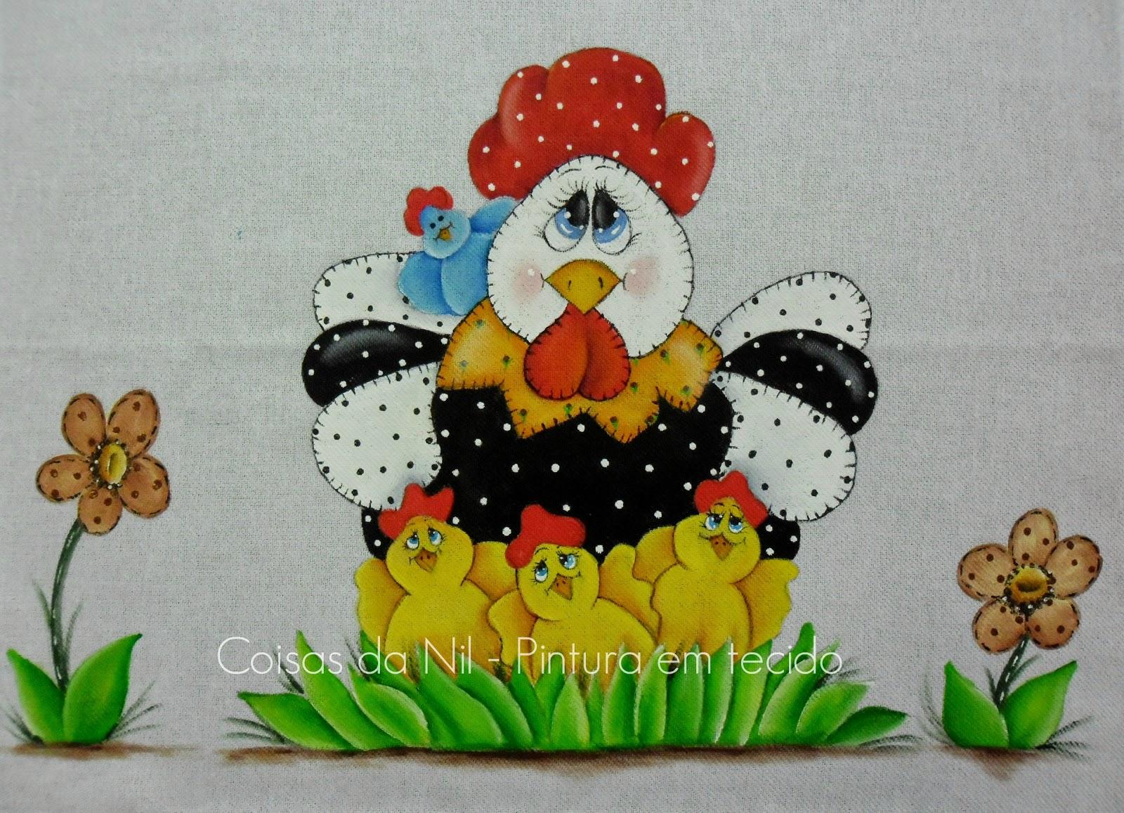 pano de copa com pintura de galinha e pintinhos