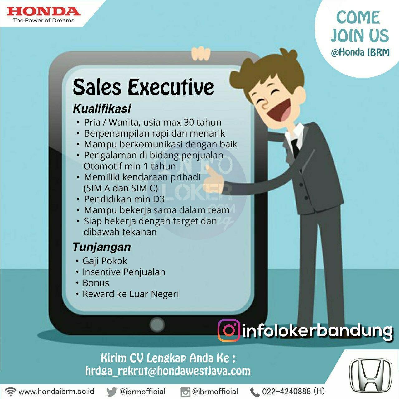 Lowongan Kerja Sales Executive Honda IBRM Bandung Juli 2018