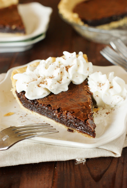 Chocolate Crack Pie image ~ fudgy deliciousness in a crust!