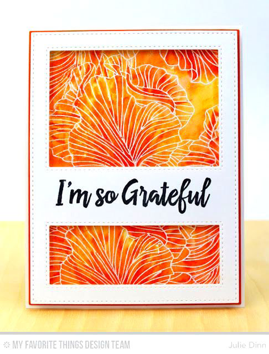Handmade card from Julie Dinn featuring Thanks So Very Much stamp set, Etched Flower Background stamp, and Stitched Cover-Up Companion - Vertical Die-namics #mftstamps