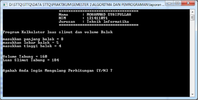 Program Kalkulator luas slimut dan volume Balok C++