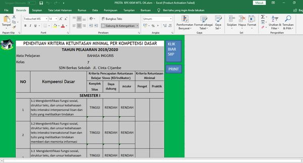 Penentuan KKM di Aplikasi Pembuat Prota Promes KKM Format Excel