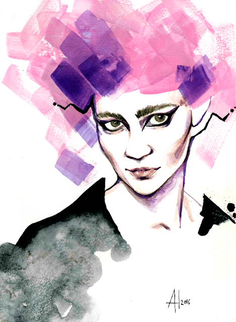 Grimes portrait - Alessia Landi fashion illustration