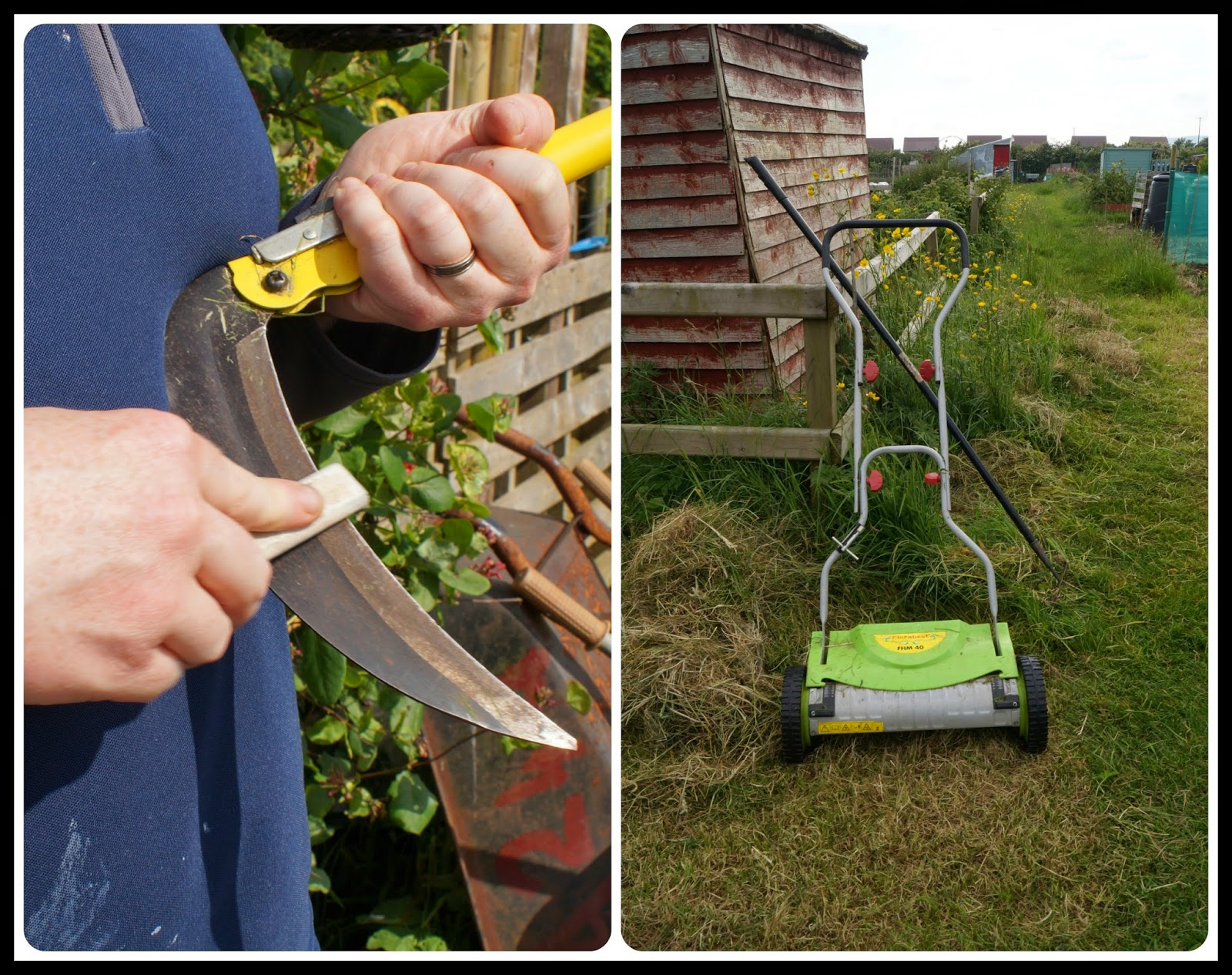 A little scythe and hand powered mower - 'growourown.blogspot.com' ~ an allotment blog