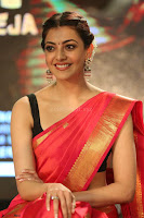 Kajal Aggarwal in Red Saree Sleeveless Black Blouse Choli at Santosham awards 2017 curtain raiser press meet 02.08.2017 049.JPG