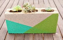 Kailo Chic Life Colorblocked Cinder Block Planter