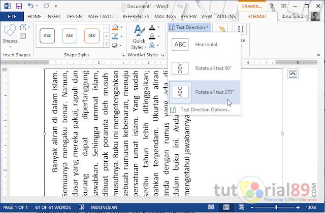 Cara mudah membuat tulisan miring di ms word