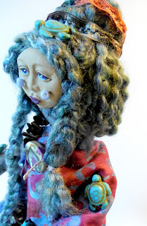 Little Sister of the Abalone Turtle Women Art Doll
