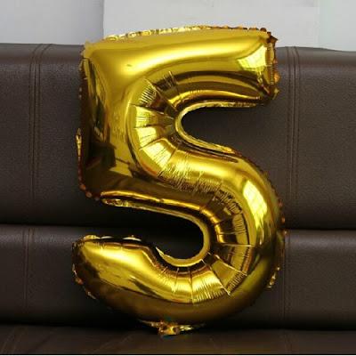 Balon Foil Angka Besar Warna Gold (Ukuran 80 Cm)