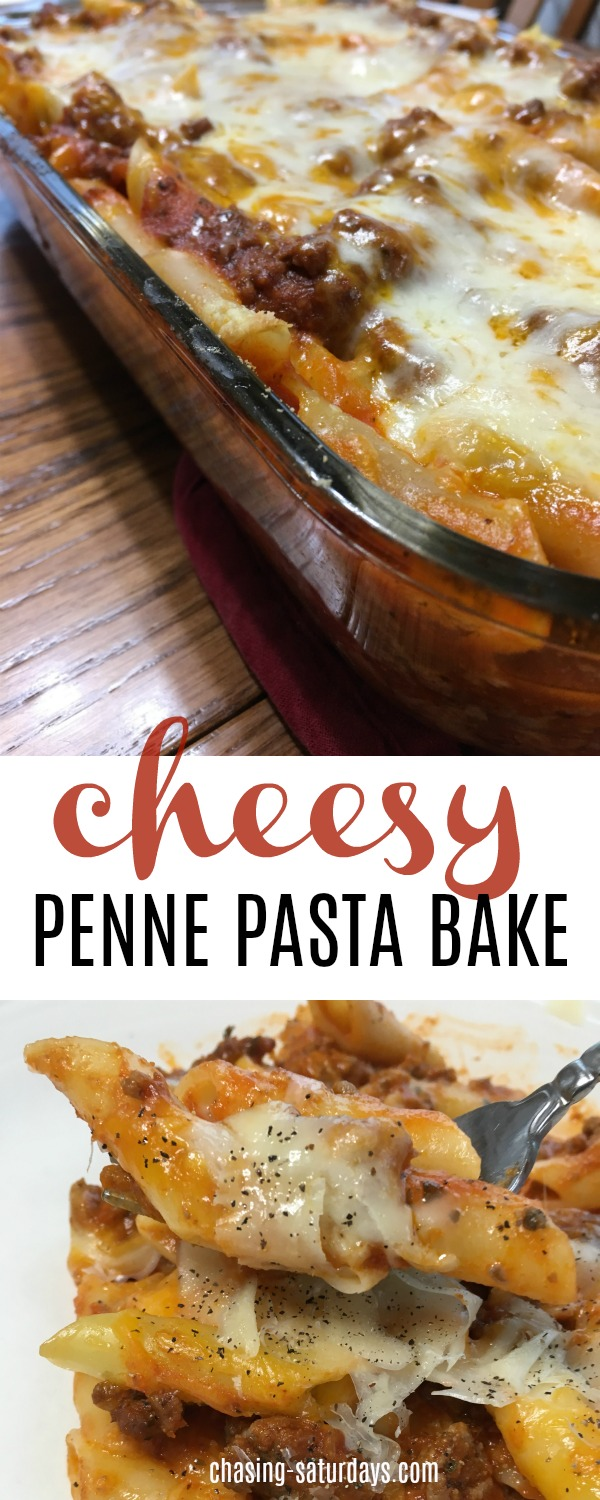 The Cheesy Penne Pasta Bake is an easy recipe, that the whole family loves! Chasing Saturday's