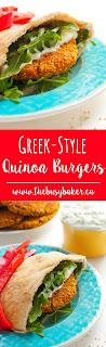 Greek-Style Quinoa Burgers www.thebusybaker.ca