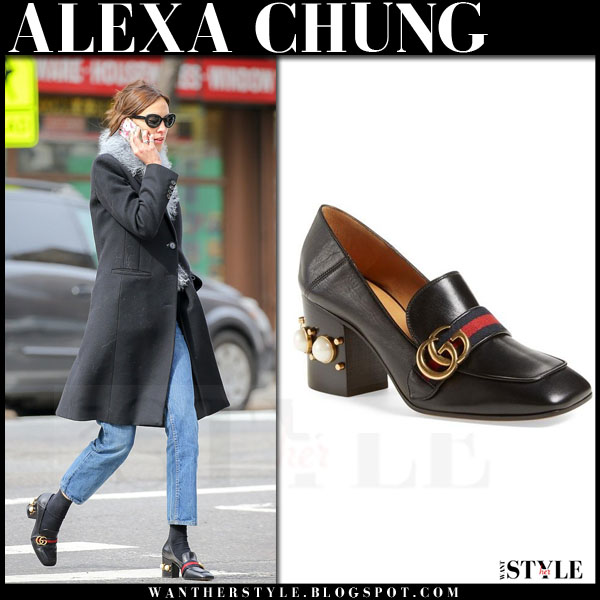 Alexa Chung in black embellished heel Gucci peyton loafers what she wore streetstyle