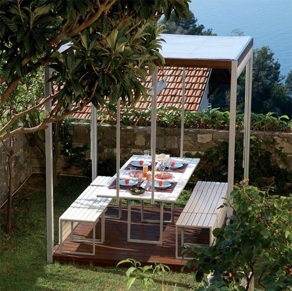 Moderno Gazebo de Diseo construido con Madera y Acero  BonitaDecoracincom