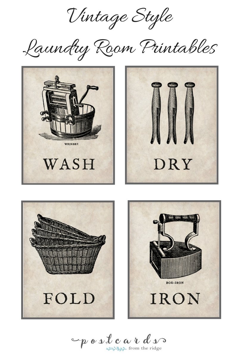 Free printable vintage style laundry room graphics. Pinning these for our laundry room!