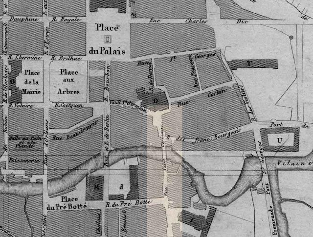 Le plan du quartier en 1829... La rue Saint-Germain se dessine bien et la Vilaine n'est pas obstacle...