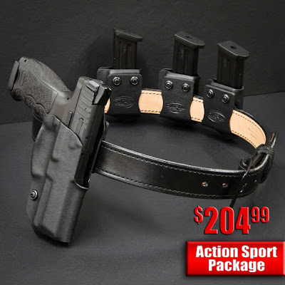 idpa rig, idpa holster package, idpa holster, holster for competitive shooting, holster and gunbelt, holster and mag carriers, outside the waistband holster