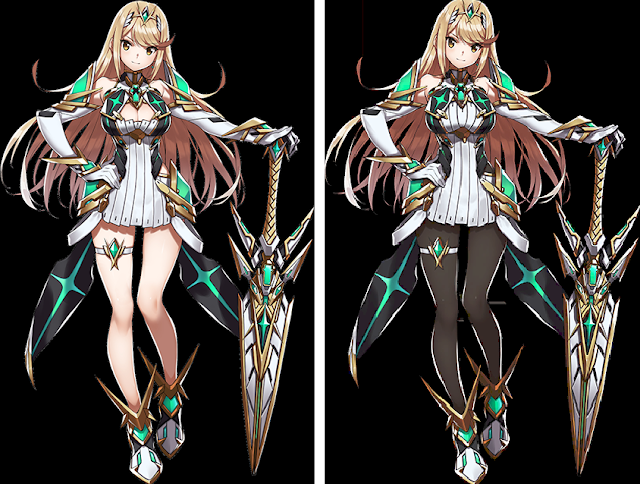 Xenoblade Chronicles 2 Mythra Super Smash Bros. Ultimate leggings censorship side-by-side comparison
