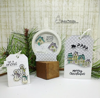 A trio of Tags |  Tags by Diane Morales | Snow Globe Scenes Stamp Set by Newton Nook Designs