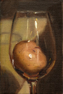 Oil painting of a potato inside a large wine glass.