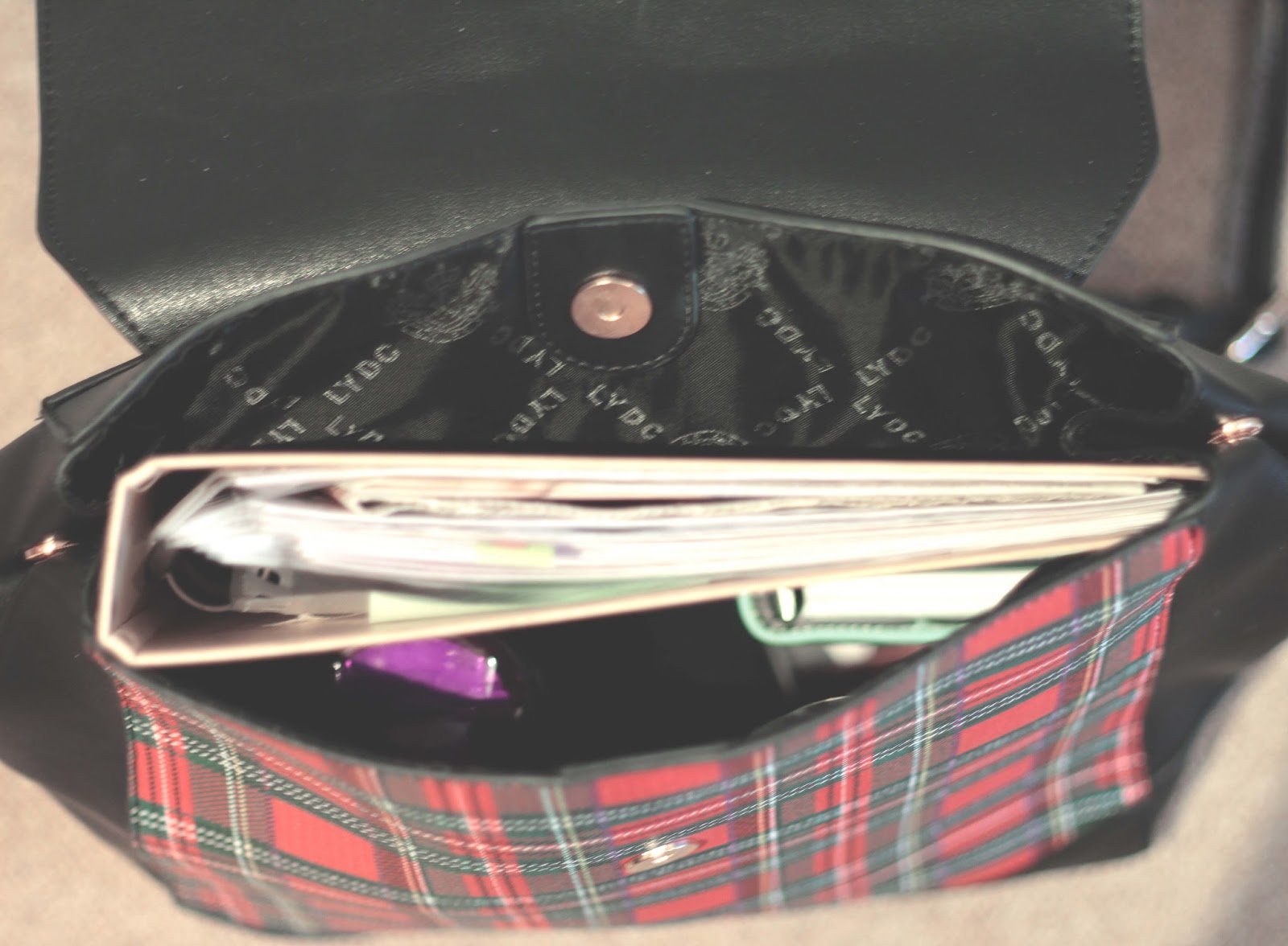 LYDC tartan backpack review inside view