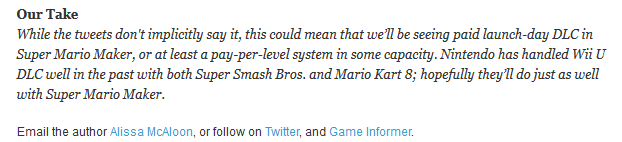 GameInformer Alissa McAloon anti Nintendo bias Super Mario Maker