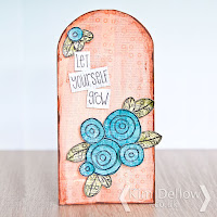 A tag made using the new Kim Dellow stamp range from PaperArtsy