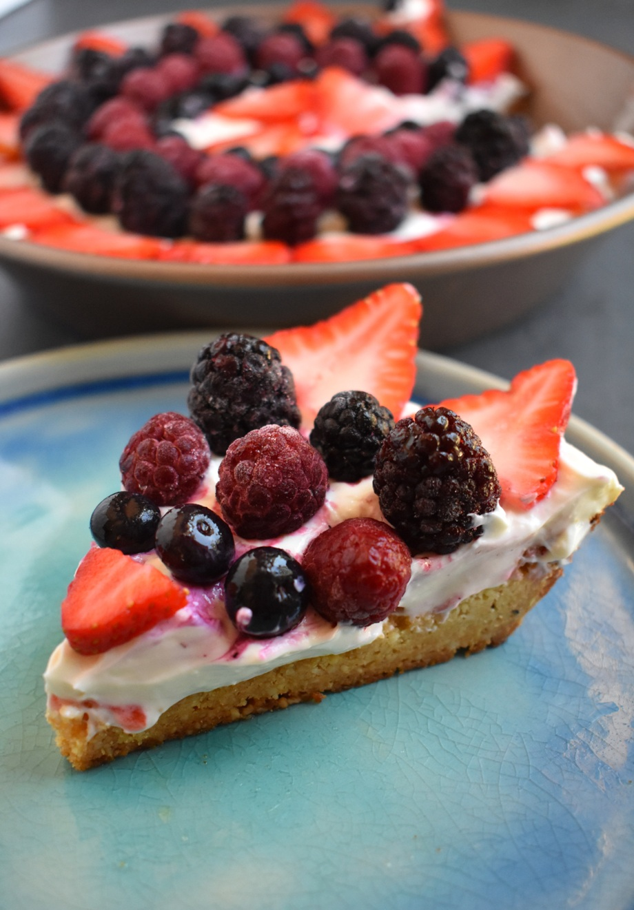 Berry Cheesecake Tart featured a creamy Greek yogurt cheesecake filling, a 3-ingredient almond crust and a variety of fresh berries for the perfect, healthier dessert ready in about 1/2 an hour! www.nutritionistreviews.com