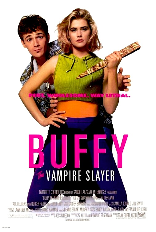 Main poster of 'Buffy the Vampire Slayer' movie with Kristy Swanson on her knees in workout clothes holding a stake while Luke Perry looks out from behind her / 'Buffy the Vampire Slayer: Pert. Wholesome. Way lethal.'