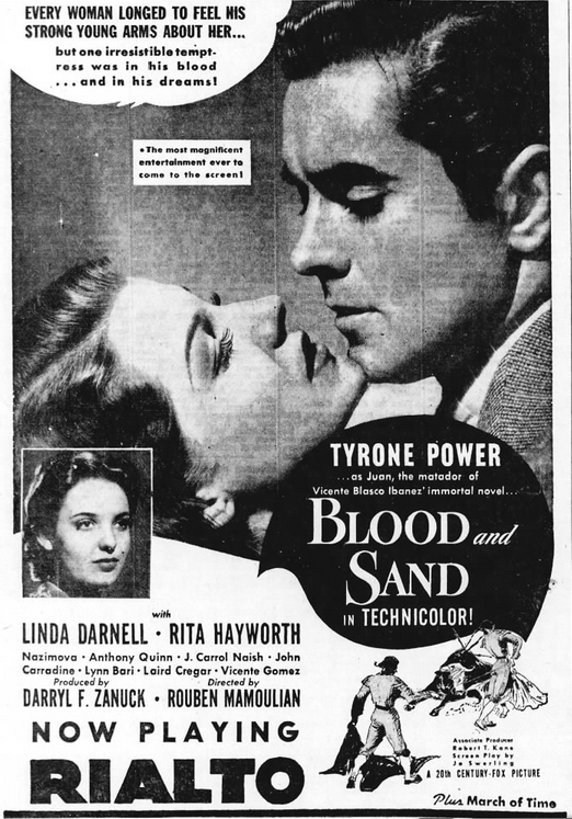 Blood and Sand advertisement 13 June 1941 worldwartwo.filminspector.com
