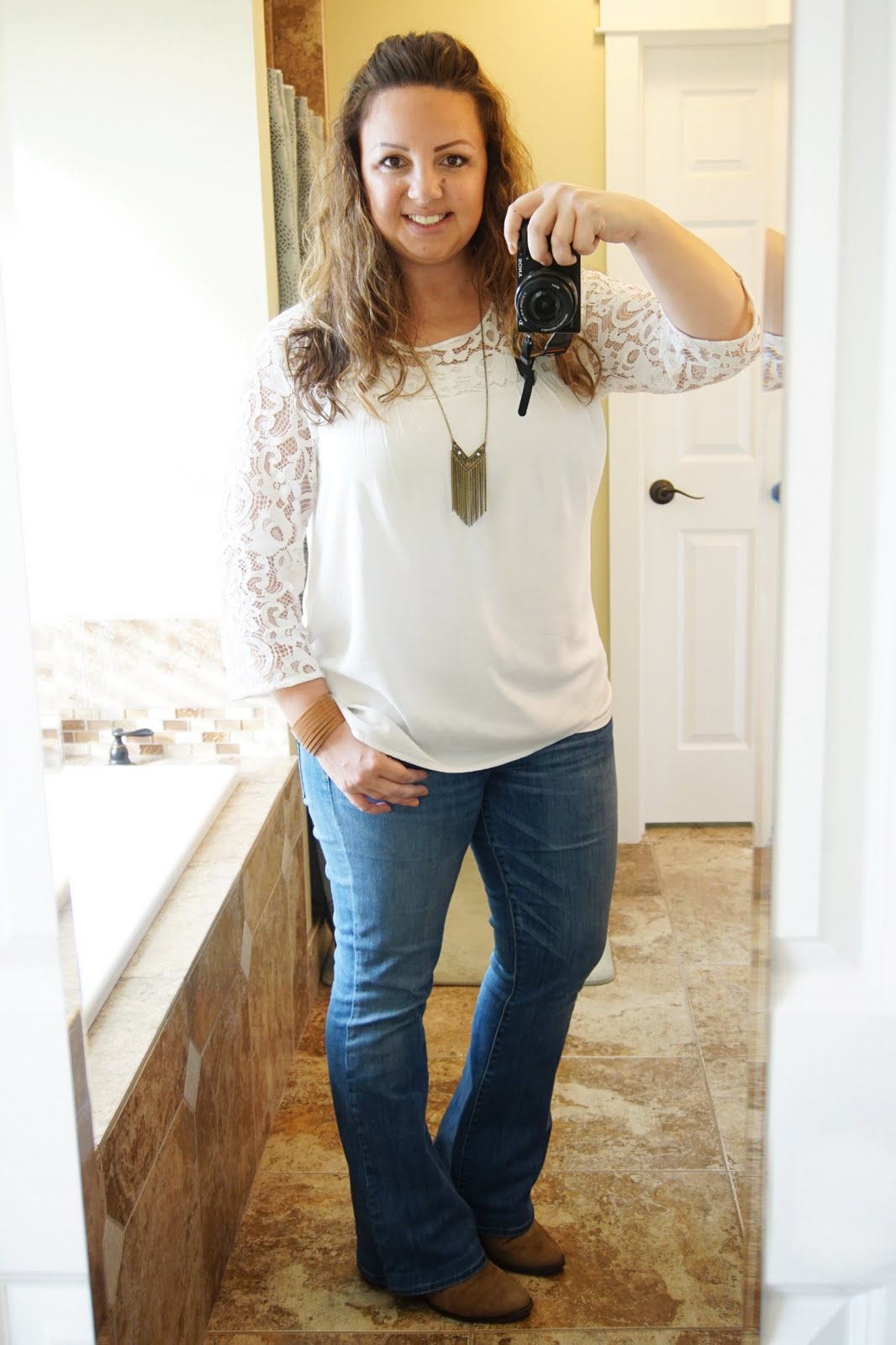 white lace blouse with jeans outfit