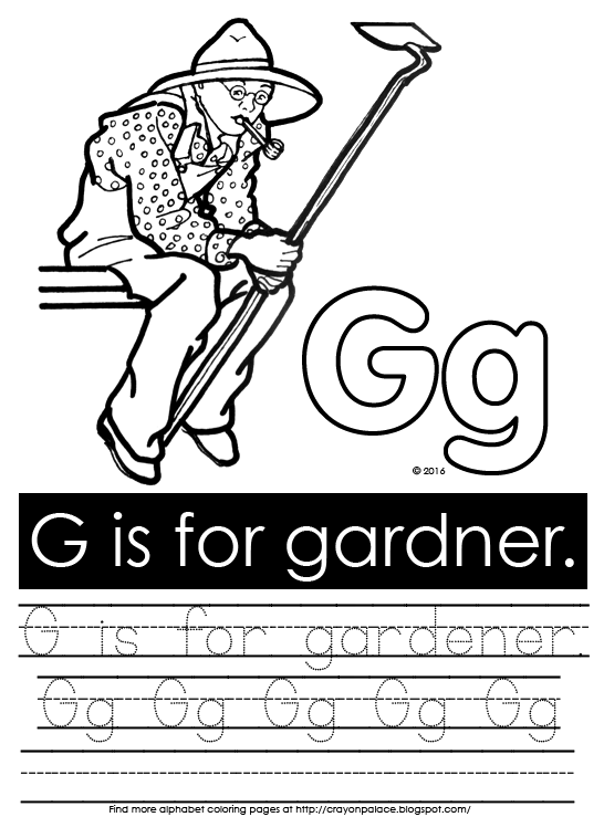Description Of Coloring Page Color A Gardener With Hoe And Gg Recognize G In Sentence Practice Upper Lower Case Corn Cob Pipe Straw Hat