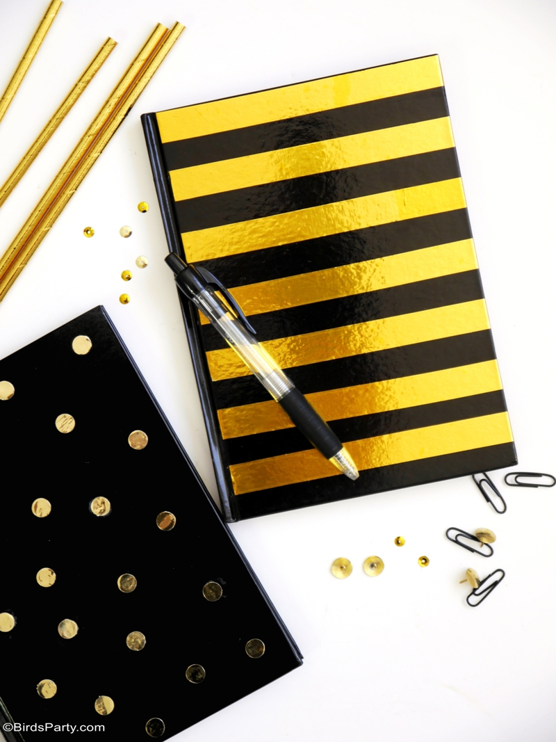 Gold foil customized DIY notebooks for back to school | BirdsParty.com