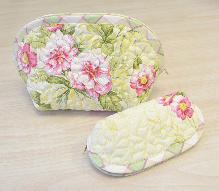 Cosmetic Bag and Eyeglass Case. DIY step-by-step tutorial.  Шьем комплект: косметичка и очечник.