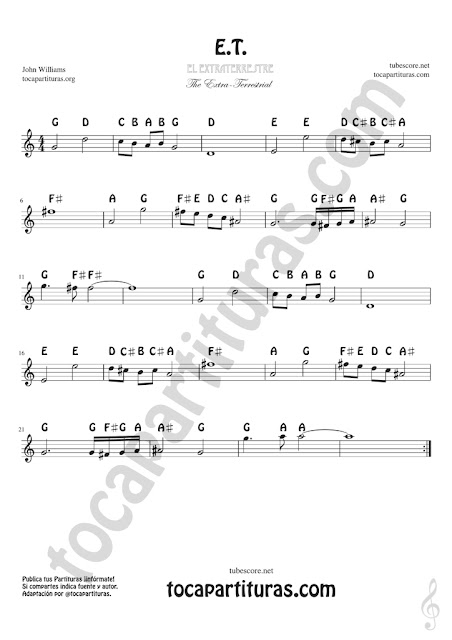 ET Easy Notes Sheet Music for Treble Clef, Violins, Flutes, Saxophones, Clarintes, Trumpets, Horns...Partitura con Notas en Inglés Clave de Sol