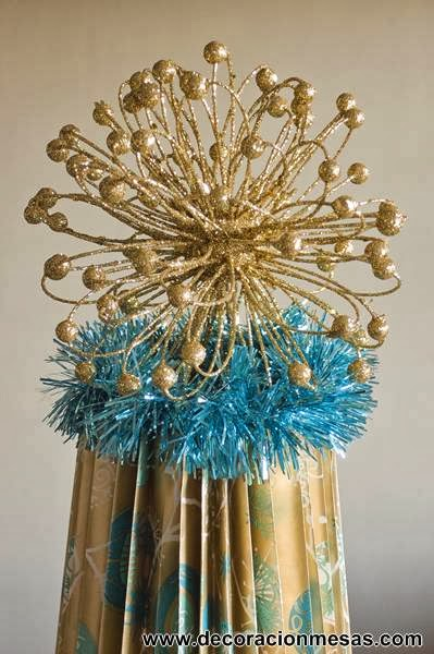 Decoracion de mesas Mesa Navidad 2012 en dorado y azul