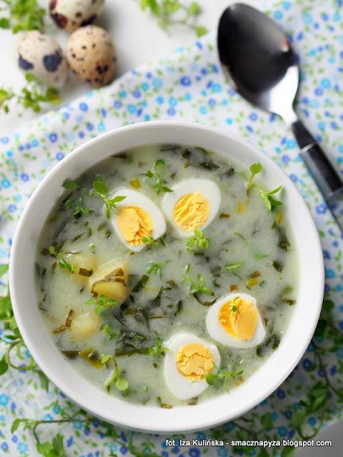 zurek z czosnkiem, zalewajka z czosnkiem niedzwiedzim, zupa na zakwasie, zupa wiosenna, zakwas na zur, wielkanoc, zupy, zupa domowa, czosnek niedzwiedzi, zielenina, rosliny jadalne